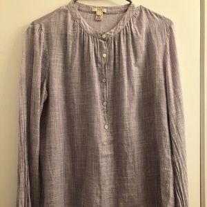 JCrew popover shirt with button front in lilac